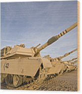 M1 Abrams Tanks At Camp Warhorse Wood Print