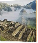 Machu Picchu In The Fog Wood Print