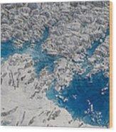 Meltwater Lakes On Hubbard Glacier Wood Print