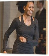 Michelle Obama At A Public Appearance Wood Print
