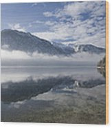 mist burning off Lake Bohinj Wood Print