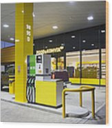 Modern Gas Station Wood Print by Jaak Nilson