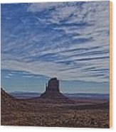 Morning Clouds Over Monument Valley Wood Print