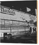 Nathan's Famous In Black And White Wood Print