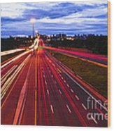 Night Traffic Wood Print