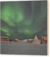 Northern Lights Above Village Wood Print