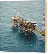 Oil Platform Wood Print