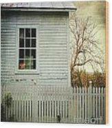 Old Farm  House Window  Wood Print by Sandra Cunningham