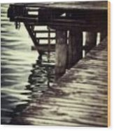 Old Wooden Pier With Stairs Into The Lake Wood Print