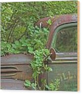 Overgrown Rusty Ford Pickup Truck Wood Print