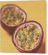 Passion Fruit Halves Wood Print by Veronique Leplat