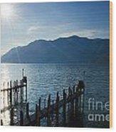 Pier In Backlight Wood Print