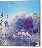 pink Flamingoes Wood Print