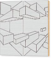 2-point Perspective Drawing Wood Print by Gregory Dean