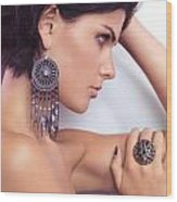 Portrait Of A Beautiful Woman Wearing Jewellery Wood Print