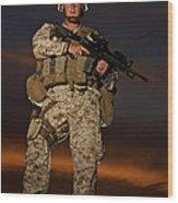 Portrait Of A U.s. Marine In Uniform Wood Print