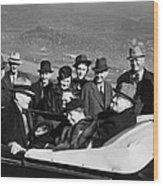 President Franklin D. Roosevelt In Car Wood Print
