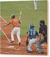 Professional Baseball Game In Taiwan Wood Print