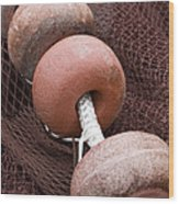 Red Fishing Net Floats Wood Print