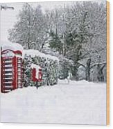 Red Phonebox In The Snow Wood Print