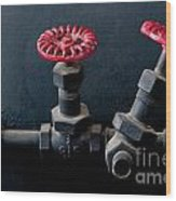 2 Red Valves Wood Print