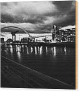 riverside walkway by the Clyde Arc bridge over the river clyde at dusk in Glasgow Scotland UK Wood Print