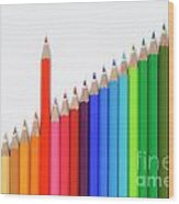 Row Of Colorful Crayons Wood Print