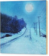 Rural Road In Winter Wood Print