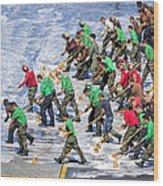 Sailors Perform A Flight Deck Wash Wood Print