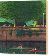 Scullers At Coal Harbour Wood Print by Neil Woodward