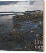 Sea At Sunset Wood Print
