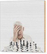 Senior Man Playing Chess Wood Print by