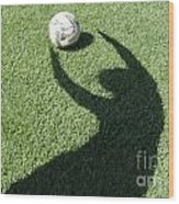 Shadow Playing Football Wood Print
