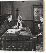 Silent Film Still: Offices Wood Print