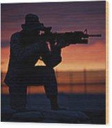 Silhouette Of A U.s Marine On A Bunker Wood Print