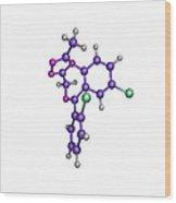 Sleeping Pill Molecule Wood Print by Dr Tim Evans