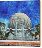 Spaceship Earth And Fountain Of Nations Wood Print