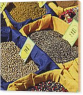 Spices On The Market Wood Print