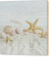 Starfish And Seashells  At The Beach Wood Print by Sandra Cunningham