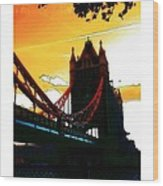 Sunset At Tower Brigde Wood Print