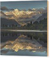 Sunset Reflection Of Lake Matheson Wood Print