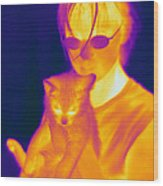Thermogram Of A Girl And Cat Wood Print
