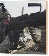 U.s. Army Soldier Provides Security Wood Print