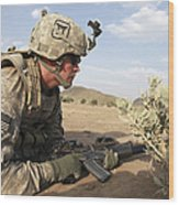 U.s Army Specialist Provides Security Wood Print