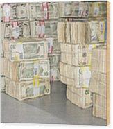 Us Bills In Bundles Wood Print