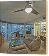 Usa Hi Honolulu Upscale Living Room Wood Print by Rob Tilley