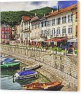 Village On The Lake Front Wood Print
