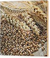 Wheat Ears And Grain Wood Print by Elena Elisseeva