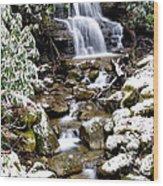 Winter Waterfall Back Fork Of Elk River Wood Print