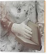 Woman With A Book Wood Print
